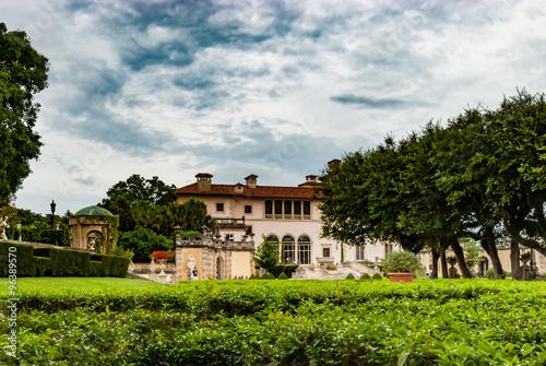 Panorama View Villa Vizcaya Museum And Gardens In Miami Florida