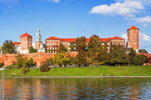 Spoed Foto op Canvas Krakau Wawel hill with castle in Krakow