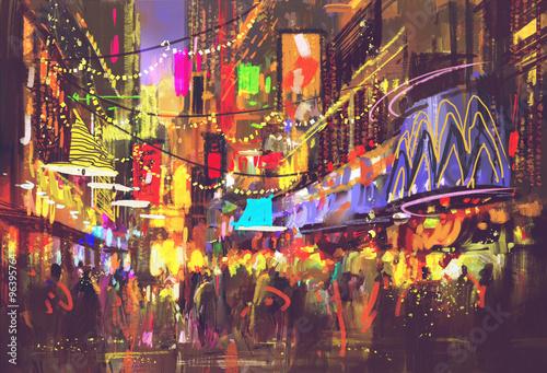 ludzie na ulicy miasta z oświetleniem i życiem nocnym, malarstwo cyfrowe