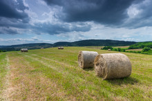 Straw Bales On The Stubble Field In Beskid Niski Mountains