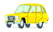 Caricatura Renault 6 serie 1 amarillo vista frontal y lateral