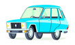 Caricatura Renault 6 serie 2 azul vista frontal y lateral
