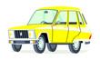 Caricatura Renault 6 serie 2 amarillo vista frontal y lateral
