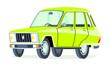 Caricatura Renault 6 serie 2 verde vista frontal y lateral