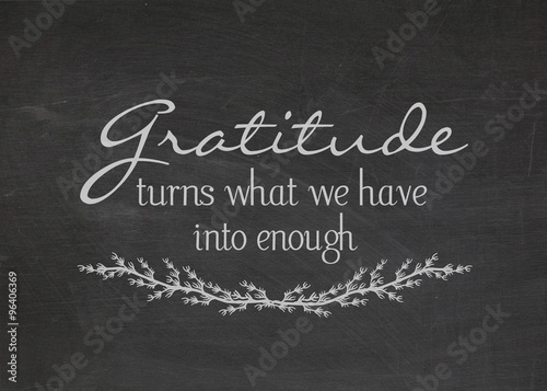 Fototapeta gratitude quote on dusty black chalkboard obraz