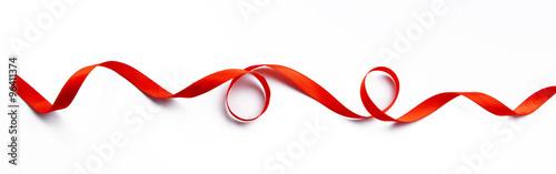 Obraz Red ribbon isolated on white - fototapety do salonu