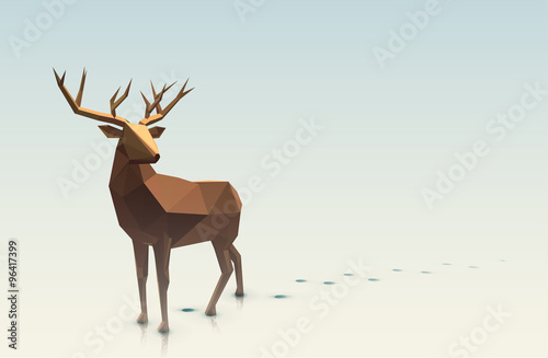 Polygonal Stag Illustration Wallpaper Mural