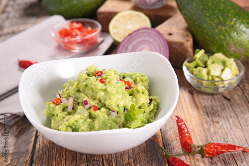 Recess Fitting Appetizer guacamole and ingredients