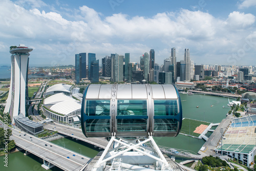 Photo  Aerial view of Singapore city with nice sky