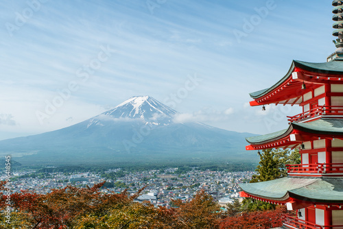 Fototapety, obrazy: Mt. Fuji with fall colors in Japan.