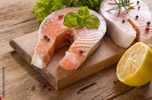 Salmon on Wood Background #96420766