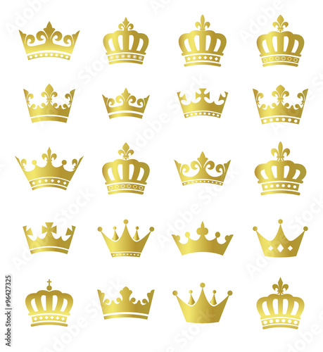 Golden Crowns Set Of Vector Gold Crown Symbols Buy This Stock