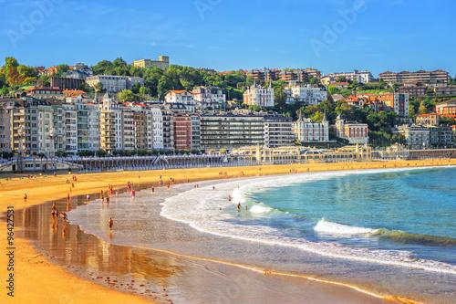 Sand beach in San Sebastian, Spain Fototapeta