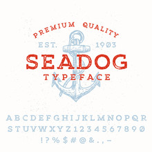 Vector Handmade Font. Vintage Styled Grunge Textured Typeface.