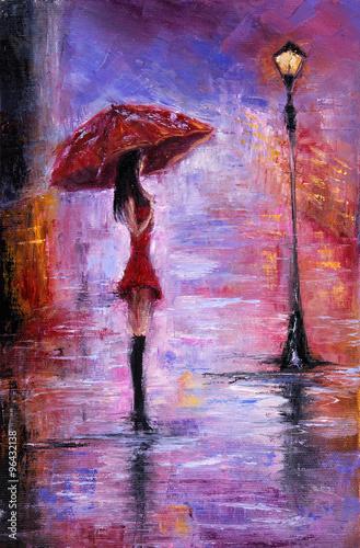 Obraz w ramie Woman in red