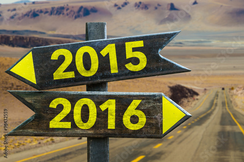 Poster  2015 - 2016 signpost in a desert road background