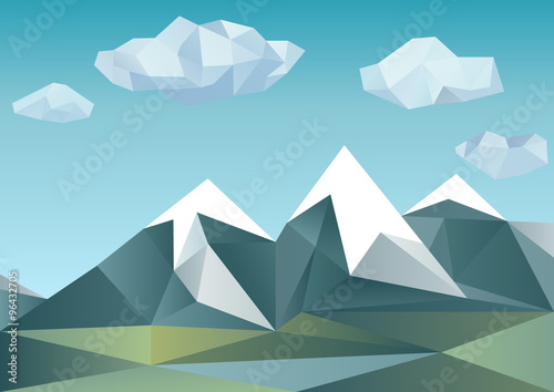 Valokuva  Abstract mountains in polygonal style