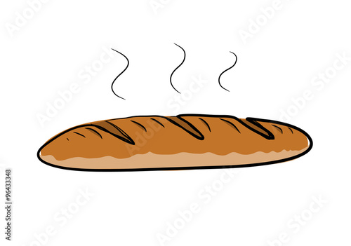 Baguette Bread A Hand Drawn Vector Illustration Of Steamy