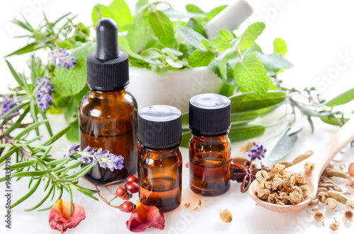 Photo  alternative therapy with essential oils and herbs