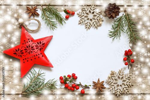 Fotografía  Świąteczna dekoracja na drewnianych deskach