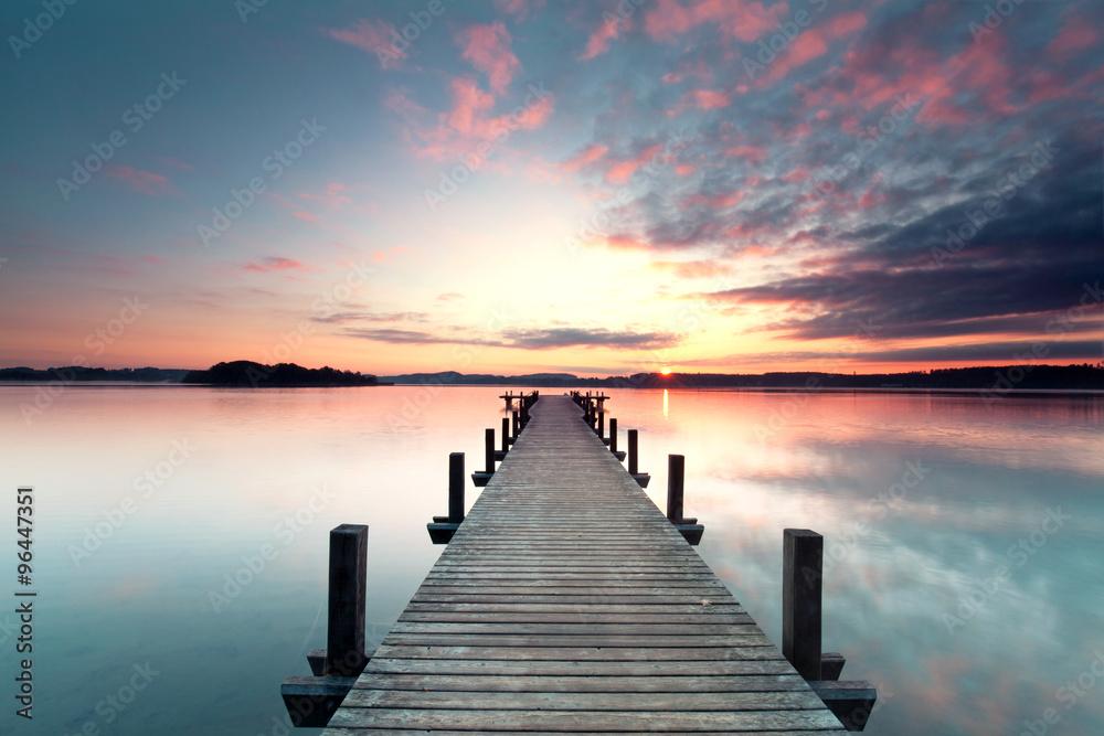 Fototapety, obrazy: Sommermorgen mit Sonnenaufgang