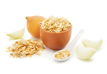 Dried Onions   Isolated On White Background