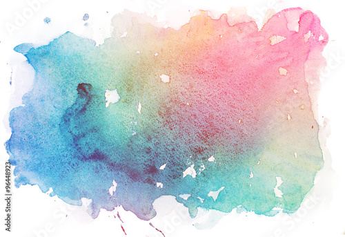 Abstract watercolor aquarelle paint hand drawn colorful splatter stain Wallpaper Mural