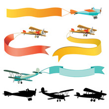 Set Of Vintage Airplanes With Banners