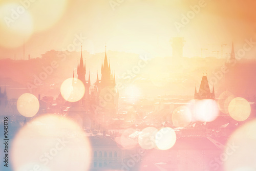 Poster Prague Prague cityscape on misty morning, Retro Toned