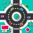 Top View Flat Design Roundabout Crossroad - Streets and Paths Vector