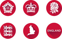 England Flat Icon Set. Set Of Vector Graphic Flat Icons Representing Symbols And Landmarks Of England.