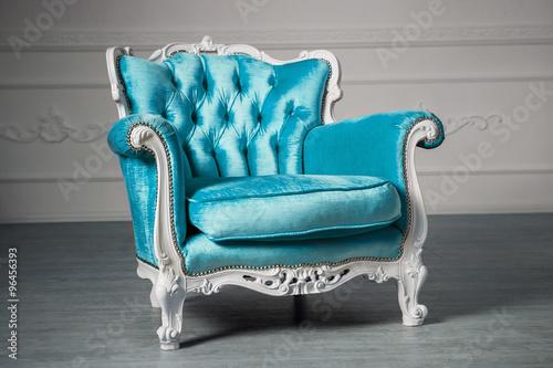 Fotografie, Obraz  Blue armchair in the room