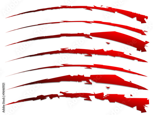 Photo  set of slash shapes isolated on white. claw mark, wound, rip vec