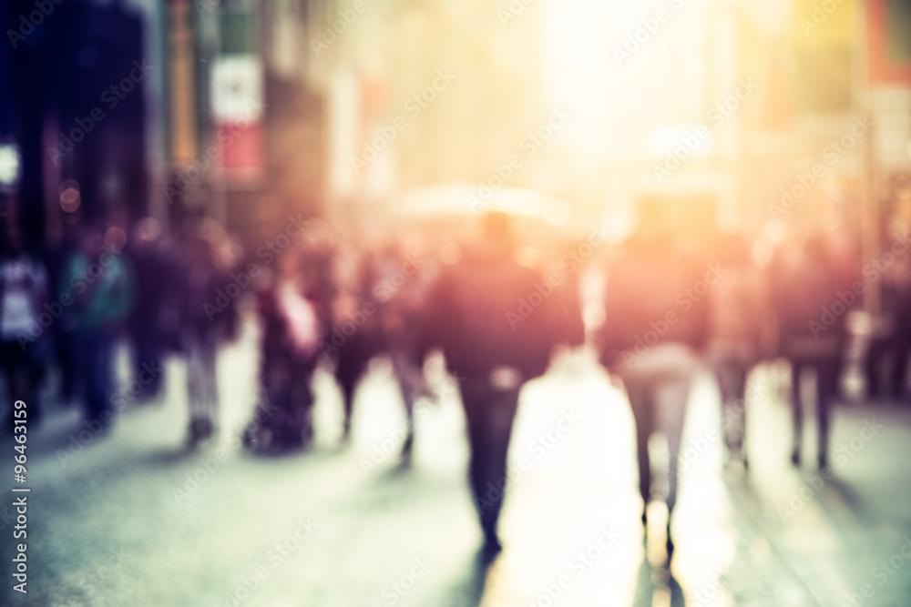 Fototapety, obrazy: people walking in the street, blurry