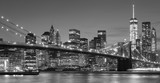 Fototapeta New York - Black and white Manhattan waterfront at night, NYC.