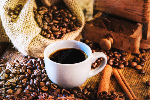 Fototapety, obrazy: Rural Italian breakfast of coffee and croissant on a wooden tabl