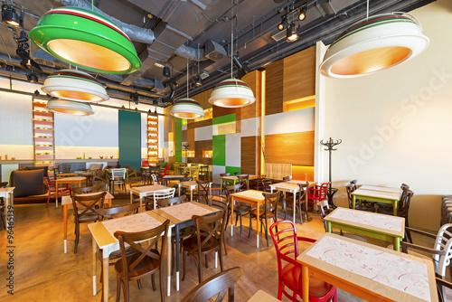 Modern restaurant design buy this stock photo and
