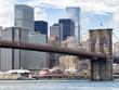 The Brooklyn Bridge and the lower Manhattan skyline in New York