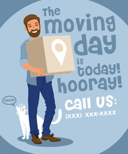 Hipster With A Cat Holding A Cardboard Box Moving Day