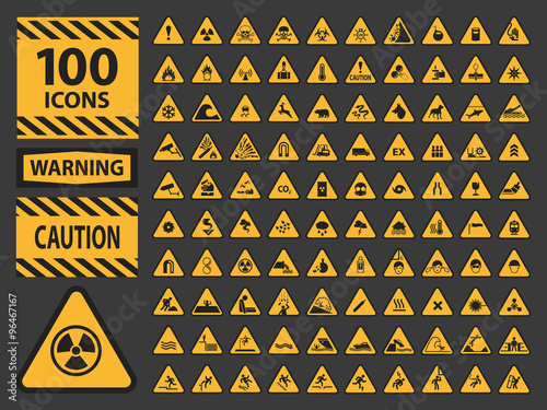 Foto Vector icn set triangle yellow warning caution hazard signs.