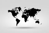 Monochrome world map  isolated