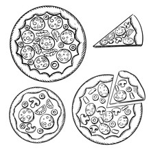 Italian Pizza Sketches With Different Topping