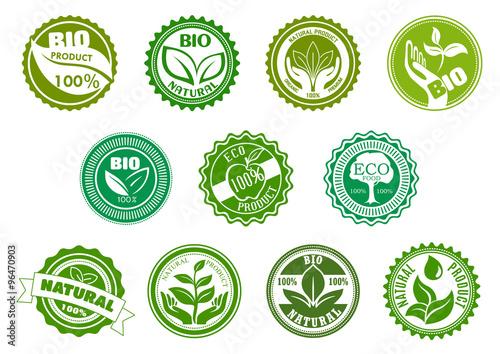 Fotografie, Obraz  Bio, eco, organic and natural green labels