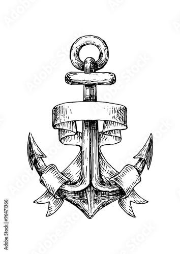 Sketch of retro nautical anchor with wavy banner Fototapeta