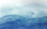Niebieskie fale w akwareli - 96474305