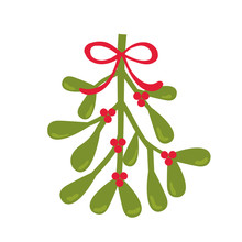 Christmas Card With Mistletoe Design Vector Illustration