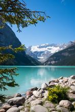 Lake Louise And Glacier. Vertical Landscape. Copy Space.