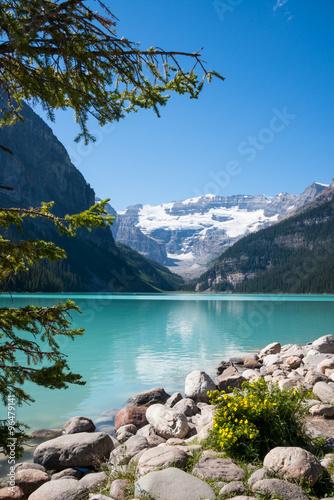 Fotografie, Obraz  Lake Louise and Glacier. Vertical Landscape. Copy space.
