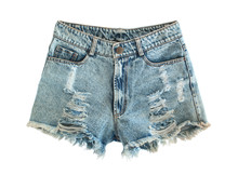 Ripped Jeans Shorts Isolated On White Background