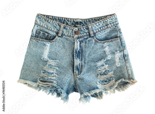 Fotografía  Ripped jeans shorts isolated on white background